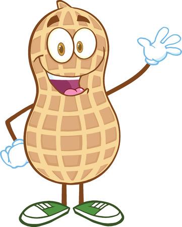 Glückliche Peanut Cartoon-Maskottchen-Buchstaben Waving Für Gruß Illustration