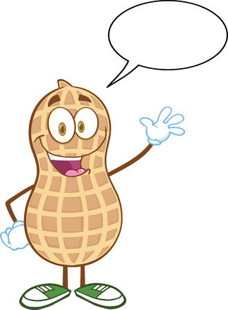 Happy Peanut Cartoon Mascot Character Waving For Greeting With Speech Bubble