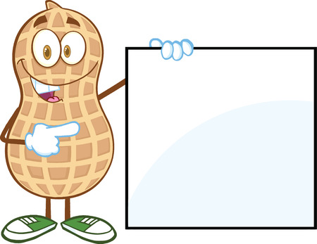 monkey nuts: Peanut Cartoon Mascot Character Showing A Blank Sign