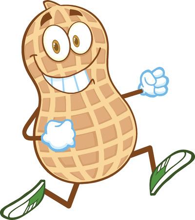 cacahuate: Sonreír Peanut Cartoon carácter de la mascota Ejecución Vectores