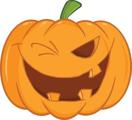 Scary Halloween Pumpkin Winking Cartoon Illustration Vector