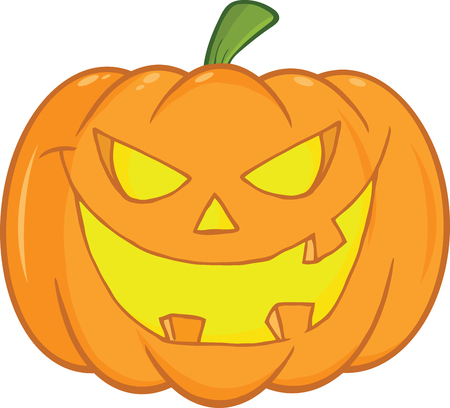 Scary Halloween Pumpkin Cartoon Illustration Vector