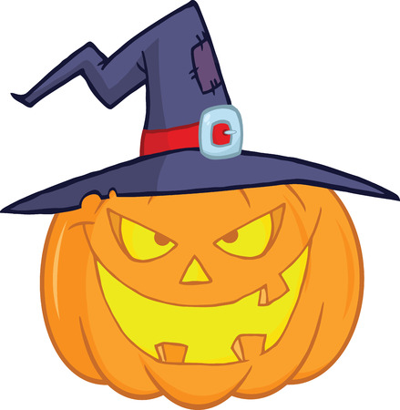 Evil Halloween Pumpkin With A Witch Hat Cartoon Illustration Vector