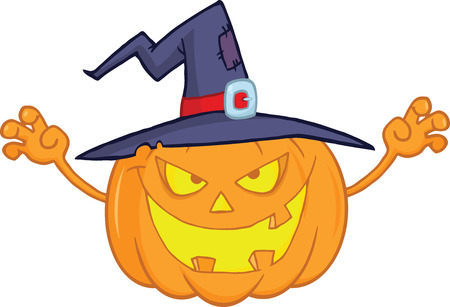 Scaring Halloween Pumpkin With A Witch Hat Cartoon Illustration Vector