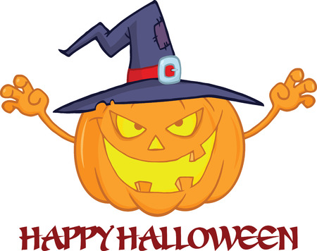 scaring: Scaring Halloween Pumpkin With A Witch Hat And Text Illustration