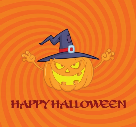 Scaring Halloween Pumpkin With A Witch Hat And Sign Vector