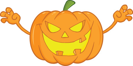 scaring: Scaring Halloween Pumpkin Cartoon Mascot Illustration
