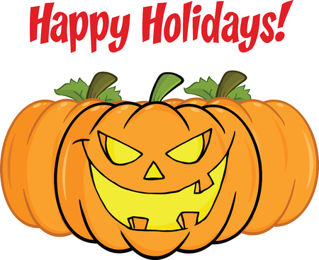 Happy Holidays Greeting With Smiling Pumpkin Vector