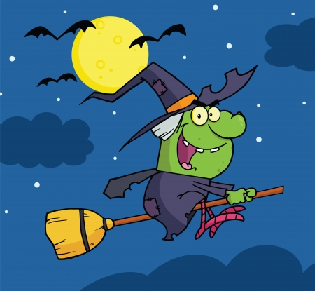 Witch Ride A Broomstick In The Night Vector