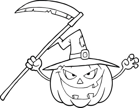 Back And White Scaring Halloween Pumpkin With A Witch Hat And Scythe  Vector