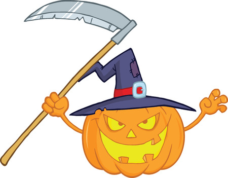 Scaring Halloween Pumpkin With A Witch Hat And Scythe Cartoon Illustration Vector