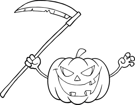 scaring: Back And White Scaring Halloween Pumpkin With A Scythe Cartoon Illustration