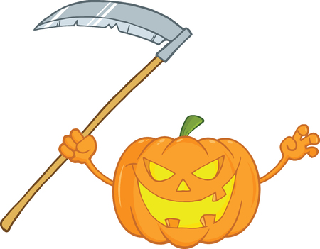 Scaring Halloween Pumpkin With A Scythe Cartoon Illustration Vector
