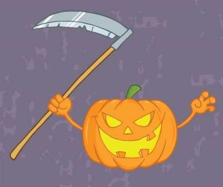 scaring: Scaring Halloween Pumpkin With A Scythe And Grunge Background