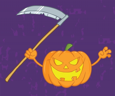 Scaring Halloween Pumpkin With A Scythe And Background Vector