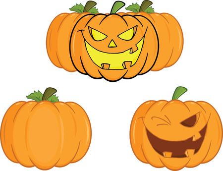 Halloween Pumpkins Cartoon illustrations  Collection Set