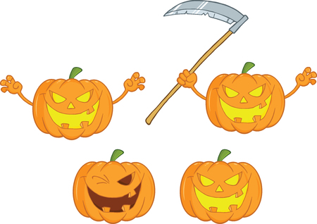 Halloween Pumpkins Cartoon Mascot Characters  Collection Set 1 Vector