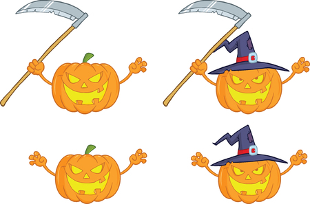 Halloween Pumpkins Cartoon Mascot Characters Collection Set  Vector