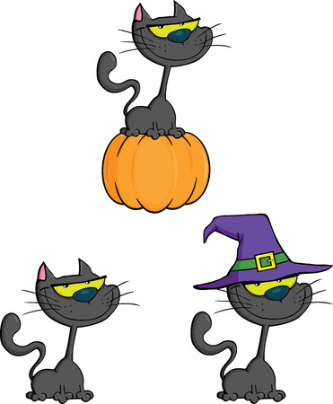 Halloween Cat Cartoon Mascot Characters  Collection Set  Vector
