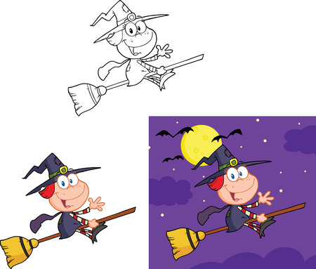 wicked set: Little Witch Cartoon Mascot Character Collection Set