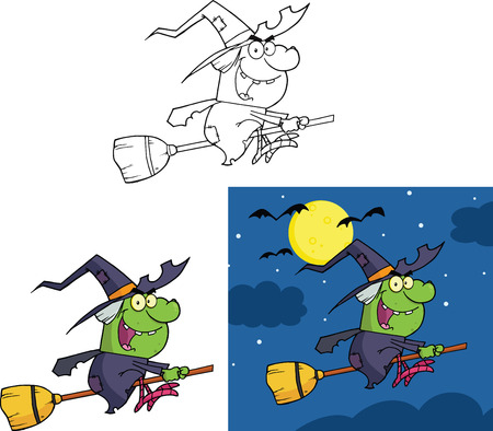 wicked set: Witch Cartoon Mascot Character  Collection Set  Illustration