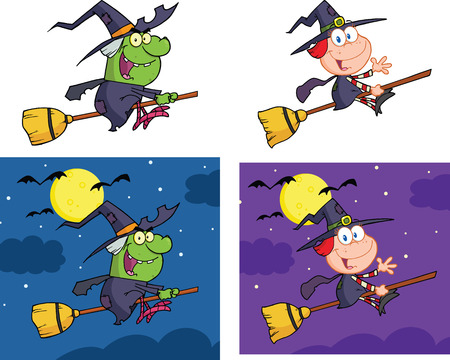 broom: Witches Cartoon Mascot Characters  Collection Set