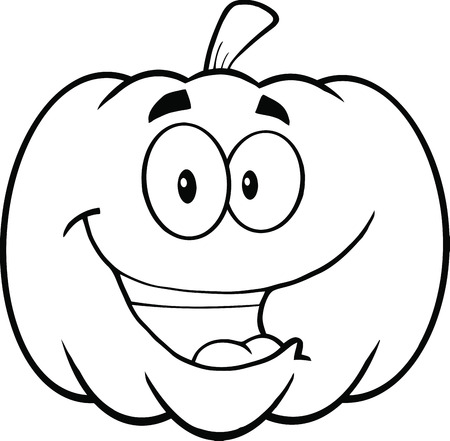 Back And White Happy Halloween Pumpkin Cartoon Mascot Illustration Vector