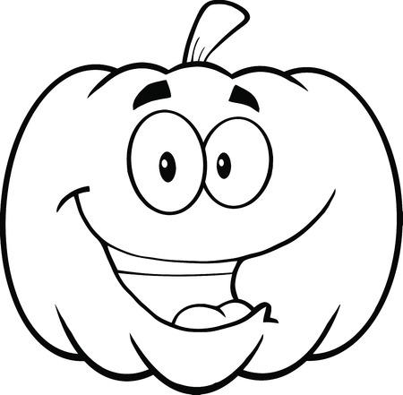 Back And White Happy Halloween Pumpkin Cartoon Mascot Illustration Ilustração