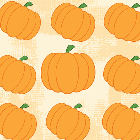 Pumpkin Background Seamless Pattern With Grunge Texture Vector