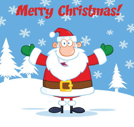 Merry Christmas Greeting With Santa Claus With Open Arms Vector