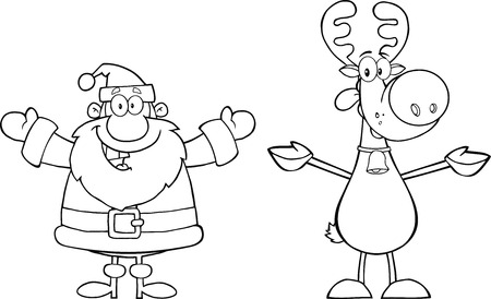 outlined: Black And White Happy Santa Claus And Reindeer