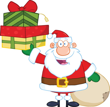 christmas costume: Smiling Santa Claus Holding Up A Stack Of Gifts Illustration