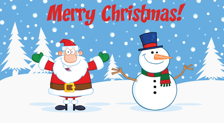 Merry Christmas Greeting With Santa Claus And Snowman Vector