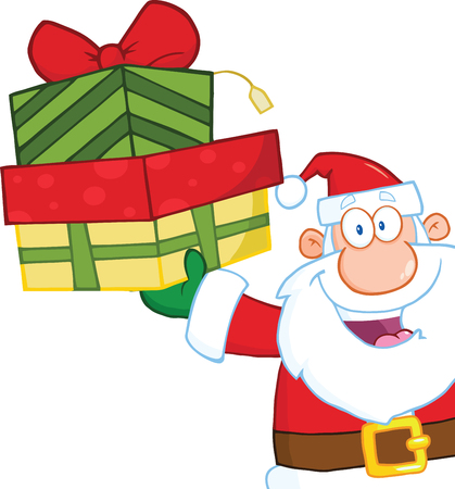 Smiling Santa Claus Holding Up A Stack Of Gifts Illustration