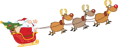 cartoon santa: Santa Claus In Flight With His Reindeer And Sleigh