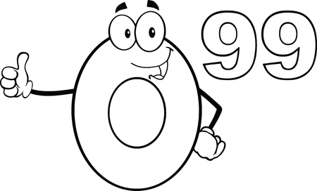 99: Black And White Price Tag Number 0 99 Cartoon Mascot Character Giving A Thumb Up