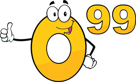 99: Price Tag Number 0 99 Cartoon Mascot Character Giving A Thumb Up