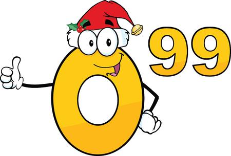 99: Price Tag Number 0 99 With Santa Hat Cartoon Mascot Character Giving A Thumb Up Illustration