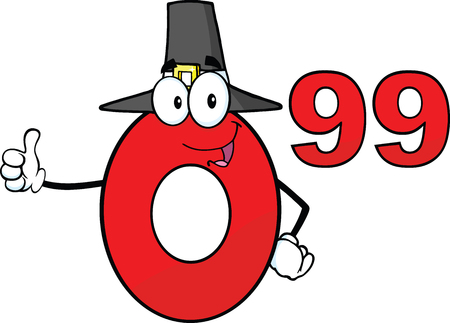 99: Price Tag Red Number 0 99 With Pilgrim Hat Cartoon Mascot Character Giving A Thumb Up