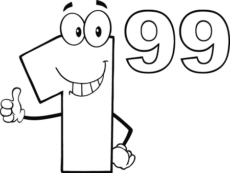 outlined isolated: Black And White Price Tag Number 1 99 Cartoon Mascot Character Giving A Thumb Up