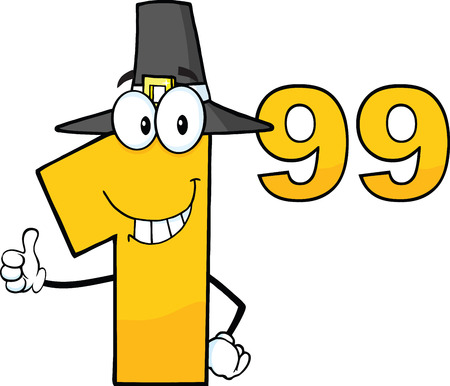 99: Price Tag Number 1 99 With Pilgrim Hat Cartoon Mascot Character Giving A Thumb Up Illustration