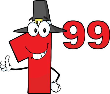 Price Tag Red Number 1 99 With Pilgrim Hat Cartoon Mascot Character Giving A Thumb Up