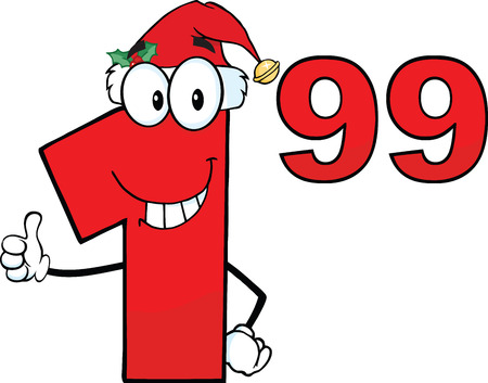 99: Price Tag Red Number 1 99 With Santa Hat Cartoon Mascot Character Giving A Thumb Up Illustration