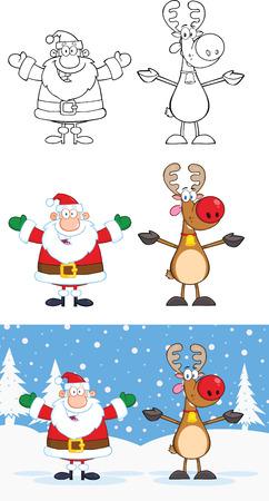 weihnachtsmann lustig: Weihnachtsmann und Rentier Cartoon Characters 1 Collection Set