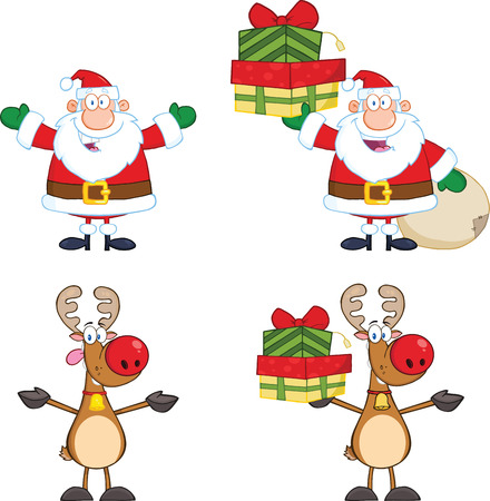 Santa Claus And Reindeer Cartoon Characters 2  Collection Set Illustration