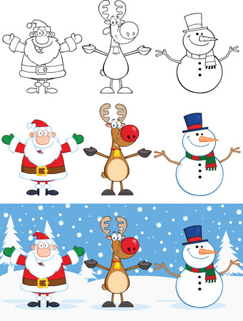 Santa Claus,Reindeer And Snowman Characters  Collection Set Vector