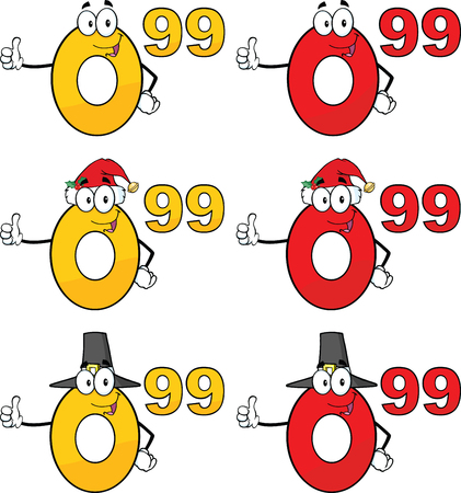 Price Tag Numbers Cartoon Mascot Characters 2  Collection Set Ilustrace