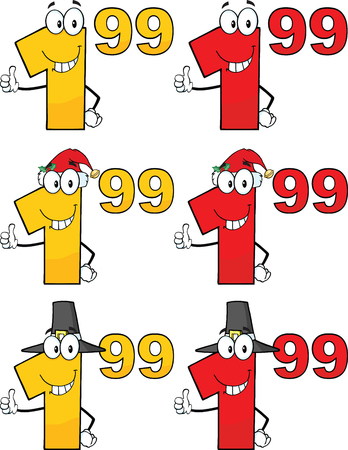 ninety: Price Tag Numbers Cartoon Mascot Characters 4  Collection Set