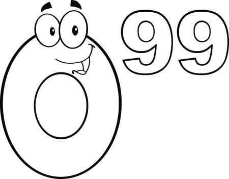 99: Black And White Price Tag Number 0 99 Cartoon Mascot Character