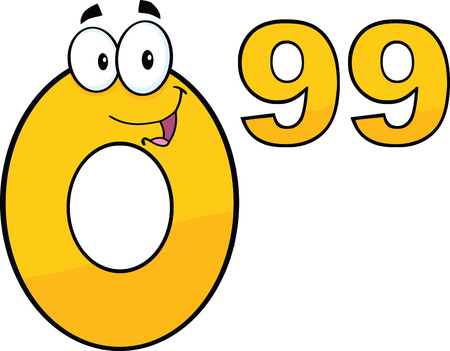 99: Price Tag Number 0 99 Cartoon Mascot Character